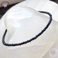 Blue Sapphire Micro Faceted Beaded Bracelet Silver